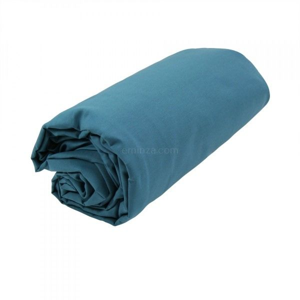drap housse coton sup rieur 80 cm f licie bleu paon linge de lit eminza. Black Bedroom Furniture Sets. Home Design Ideas