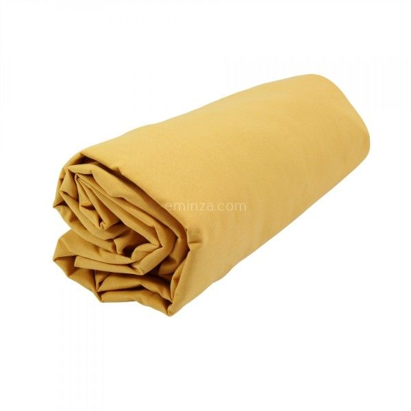 drap housse coton sup rieur 80 cm f licie jaune moutarde linge de lit eminza. Black Bedroom Furniture Sets. Home Design Ideas