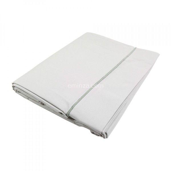 Drap plat coton supérieur (180 cm) Félicie Gris clair galet - Linge ...