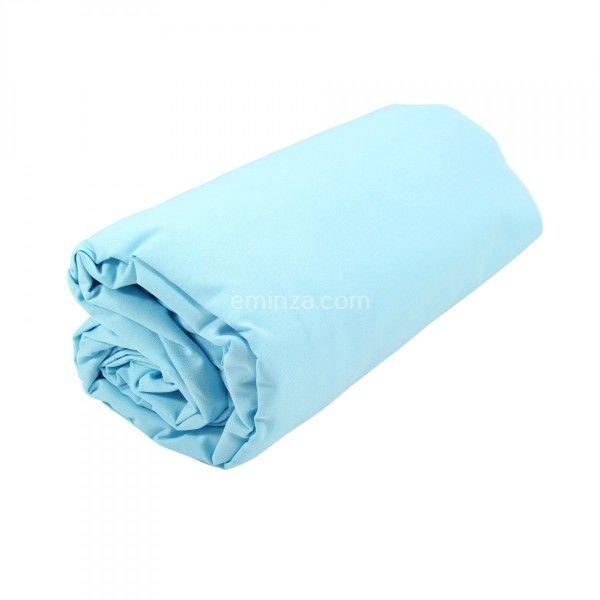 drap housse coton sup rieur 120 cm f licie bleu clair cara bes linge de lit eminza. Black Bedroom Furniture Sets. Home Design Ideas