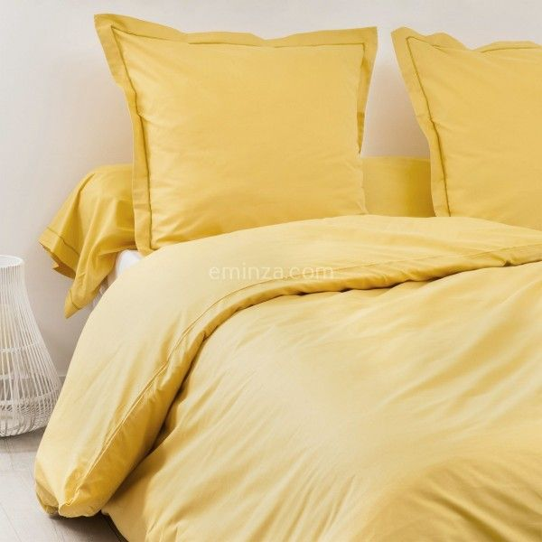 drap housse coton sup rieur 120 cm f licie jaune moutarde linge de lit eminza. Black Bedroom Furniture Sets. Home Design Ideas