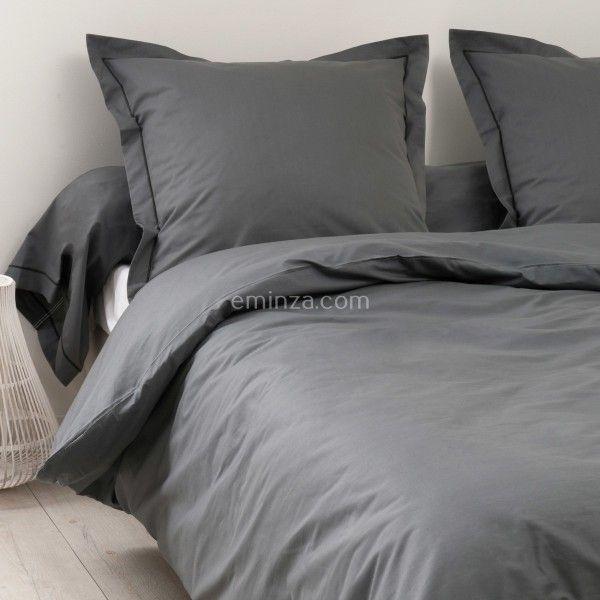 drap housse coton sup rieur 160 cm f licie gris anthracite carbone drap housse eminza. Black Bedroom Furniture Sets. Home Design Ideas