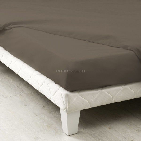 drap housse coton sup rieur 160 cm f licie taupe linge de lit eminza. Black Bedroom Furniture Sets. Home Design Ideas