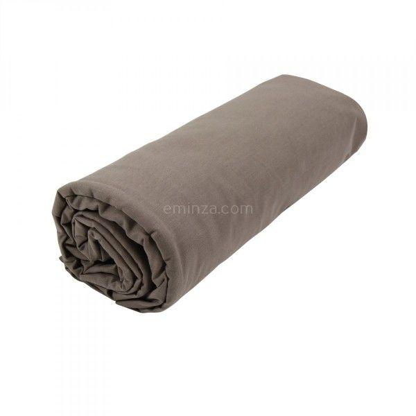 drap housse coton sup rieur 160 cm f licie taupe drap housse eminza. Black Bedroom Furniture Sets. Home Design Ideas