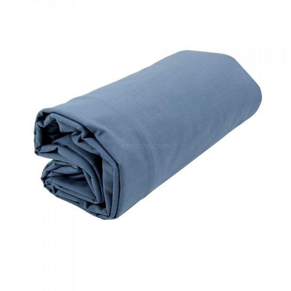 drap housse coton sup rieur 180 cm f licie bleu orage linge de lit eminza. Black Bedroom Furniture Sets. Home Design Ideas