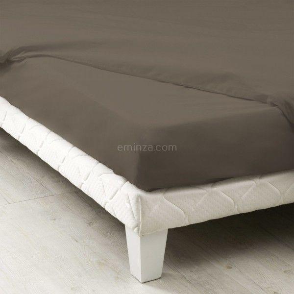 drap housse coton sup rieur 180 cm f licie taupe linge de lit eminza. Black Bedroom Furniture Sets. Home Design Ideas