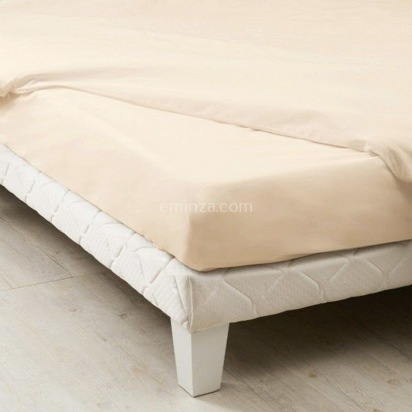 drap housse percale de coton 140 cm louise ecru coquille linge de lit eminza. Black Bedroom Furniture Sets. Home Design Ideas