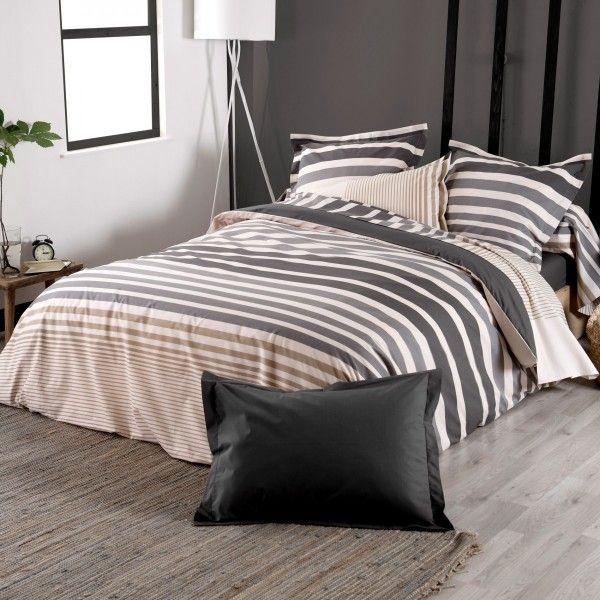 housse de couette percale de coton 240 cm stripe gris ficelle linge de lit eminza. Black Bedroom Furniture Sets. Home Design Ideas