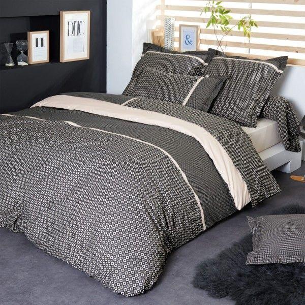 housse de couette percale de coton 260 cm gatsby noir linge de lit eminza. Black Bedroom Furniture Sets. Home Design Ideas