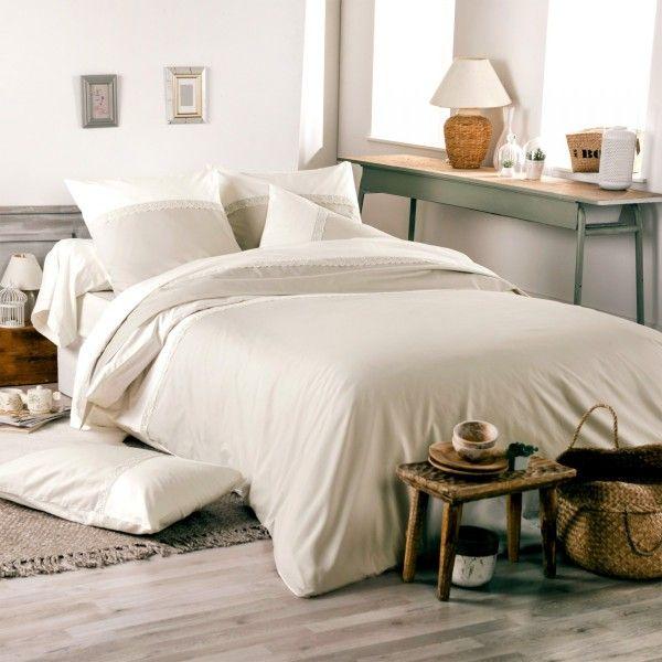 housse de couette percale de coton 240 cm idylle beige linge de lit eminza. Black Bedroom Furniture Sets. Home Design Ideas