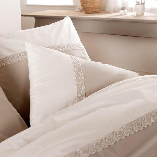 housse de couette percale de coton 260 cm idylle beige linge de lit eminza. Black Bedroom Furniture Sets. Home Design Ideas