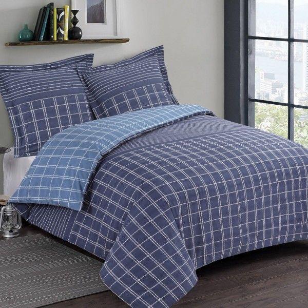 housse de couette et deux taies martin coton 200 cm bleu linge de lit eminza. Black Bedroom Furniture Sets. Home Design Ideas