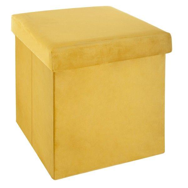 pouf pliant tess jaune moutarde meuble de rangement eminza. Black Bedroom Furniture Sets. Home Design Ideas