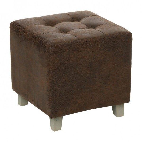 pouf cuir leandre marron canap et fauteuil eminza. Black Bedroom Furniture Sets. Home Design Ideas