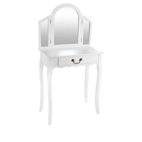 Coiffeuse aurell blanc meuble de chambre eminza for Coiffeuse meuble blanc