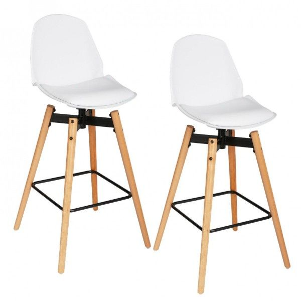 lot de 2 tabourets de bar wilio blanc tabouret de bar eminza. Black Bedroom Furniture Sets. Home Design Ideas