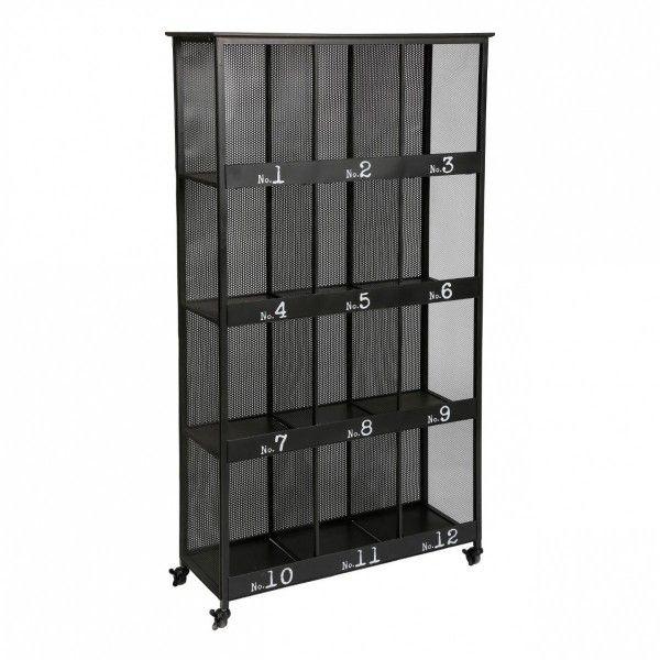 biblioth que torof noir m tal 12 cases biblioth que et tag re eminza. Black Bedroom Furniture Sets. Home Design Ideas