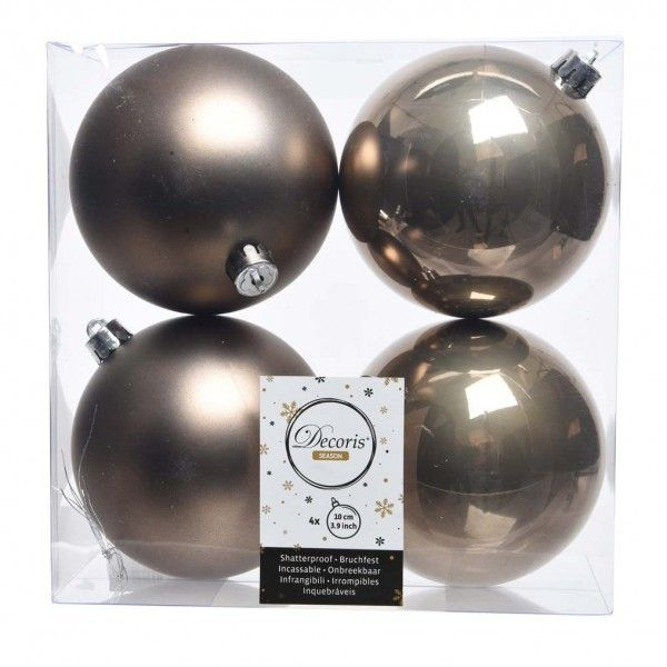 Lot de 4 boules de Noël (D100 mm) Alpine Marron glacé