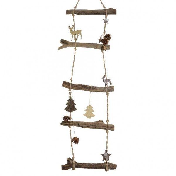 Echelle en bois d cor e naturel h110 cm d co de no l Echelle decorative bois