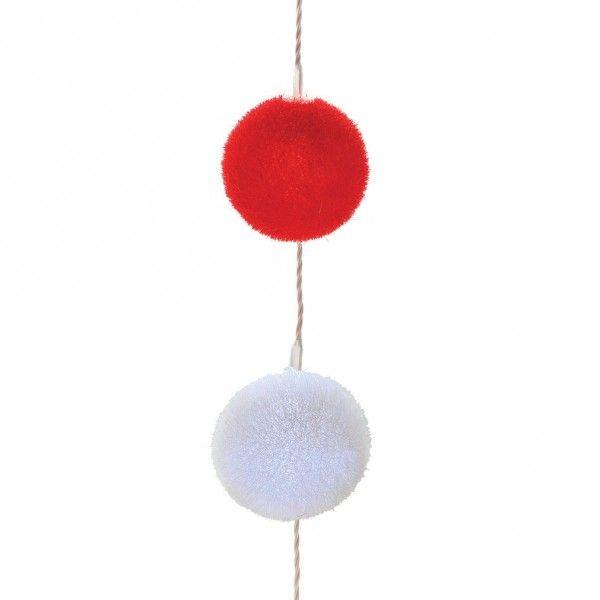 Guirlande Lumineuse Boules Velours Blanc Rouge Déco De Noël Pour