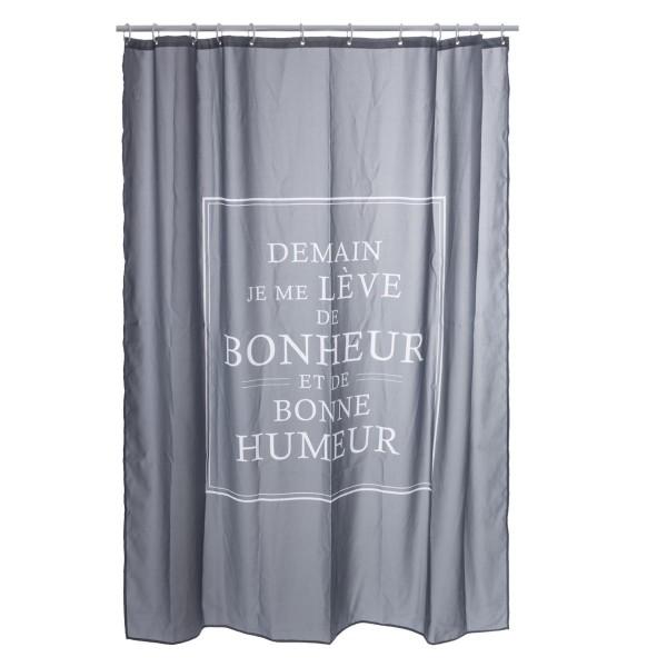 Rideau de douche 200 cm bonheur gris accessoire douche baignoire eminza - Rideau de douche gris anthracite ...