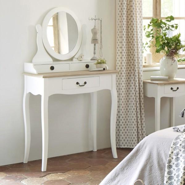 Coiffeuse chrysa blanche meuble de chambre eminza - Coiffeuse design meuble ...
