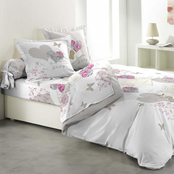 parure de couette compl te coton 260 cm 6 pi ces romantic hearts rose linge de lit eminza. Black Bedroom Furniture Sets. Home Design Ideas