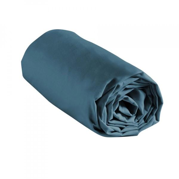 drap housse coton 180 cm lina bleu nuit linge de lit eminza. Black Bedroom Furniture Sets. Home Design Ideas