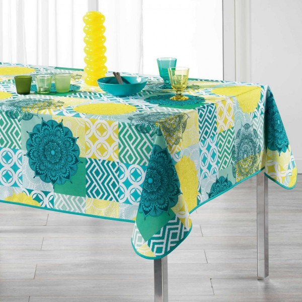 Nappe rectangulaire l240 cm flamenco bleu linge de - Nappe de table rectangulaire ...