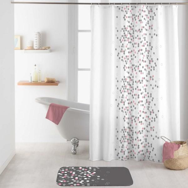 rideau de douche 200 cm effervescence blanc accessoire douche baignoire eminza. Black Bedroom Furniture Sets. Home Design Ideas