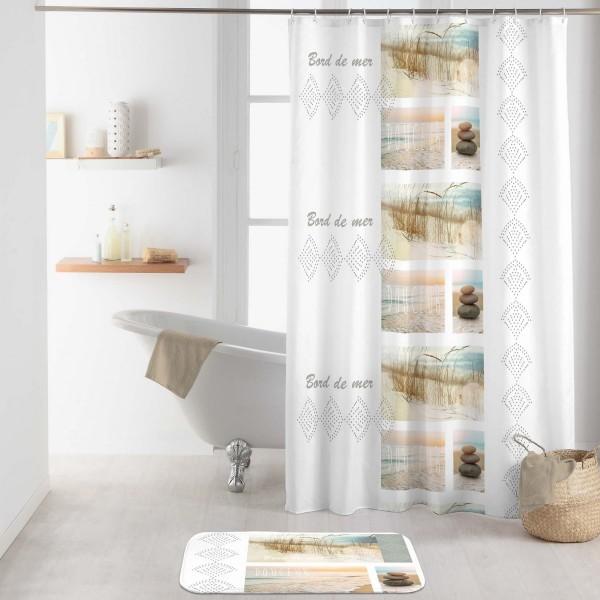 rideau de douche 200 cm palavas blanc accessoire. Black Bedroom Furniture Sets. Home Design Ideas