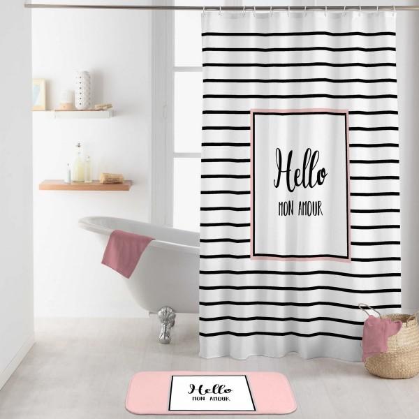 rideau de douche 200 cm amour blanc accessoire douche baignoire eminza. Black Bedroom Furniture Sets. Home Design Ideas