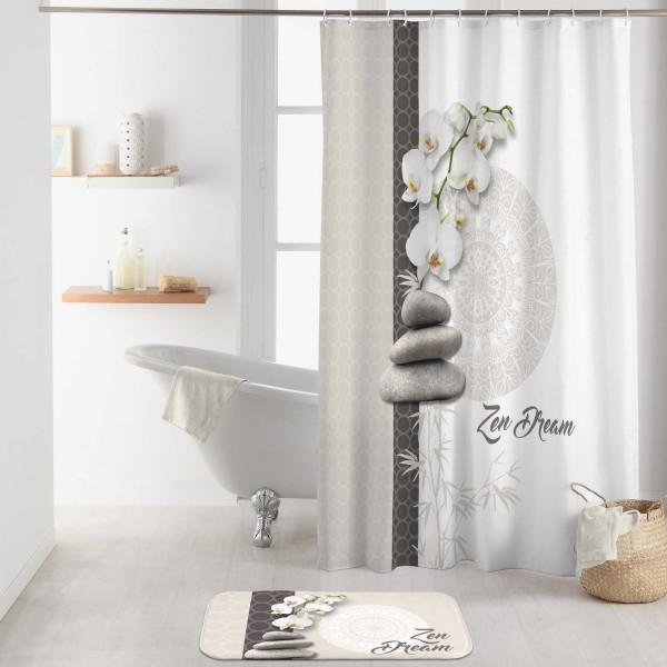 rideau de douche 200 cm orchizen blanc accessoire douche baignoire eminza. Black Bedroom Furniture Sets. Home Design Ideas