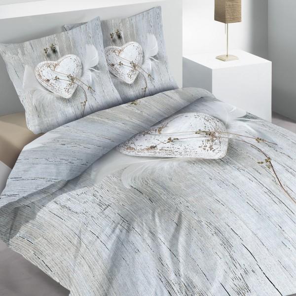 Housse de couette et deux taies coton 260 cm white love - Housse de couette gris clair ...