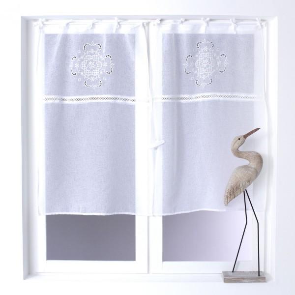 paire de voilages 60 x 120 cm h ron blanc rideau voilage store eminza. Black Bedroom Furniture Sets. Home Design Ideas