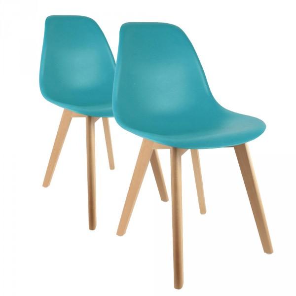 lot de 2 chaises coque bleu canard chaise et tabouret. Black Bedroom Furniture Sets. Home Design Ideas