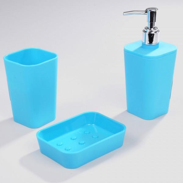 Kit d\'accessoires de salle de bain Soft touch Bleu océan ...
