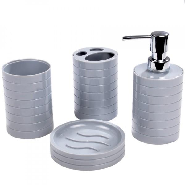 Kit d 39 accessoires de salle de bain strie gris clair accessoire salle de bain eminza - Accessoire salle de bain gris ...