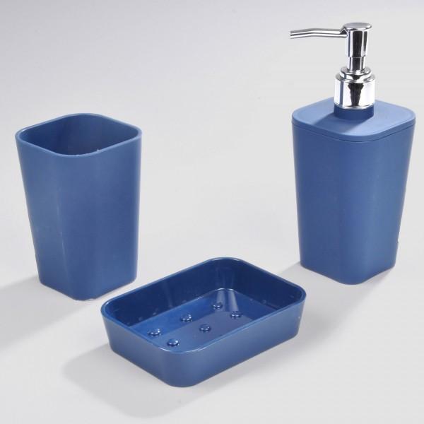 Kit d\'accessoires de salle de bain Soft touch Bleu indigo ...