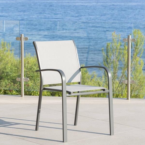 fauteuil de jardin alu empilable essentia gris galet. Black Bedroom Furniture Sets. Home Design Ideas