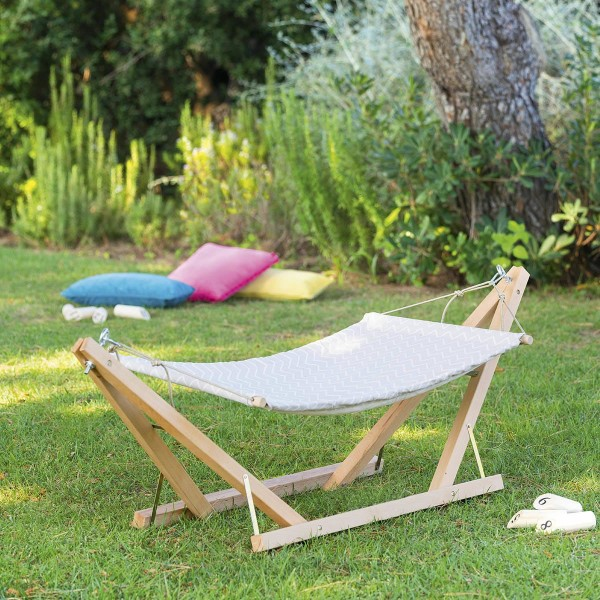 hamac sur pied en bois enfant gris enfants eminza. Black Bedroom Furniture Sets. Home Design Ideas