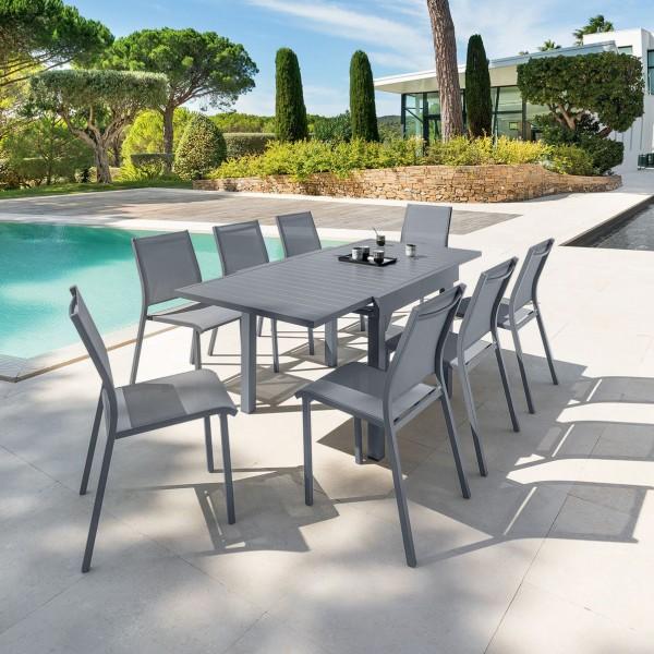 Table de jardin extensible piazza aluminium 180 x 90 cm gris ardoise salon de jardin - Table jardin aluminium extensible ...