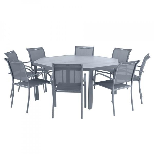 Table de jardin Aluminium Piazza octogonale - Gris ardoise - Salon ...