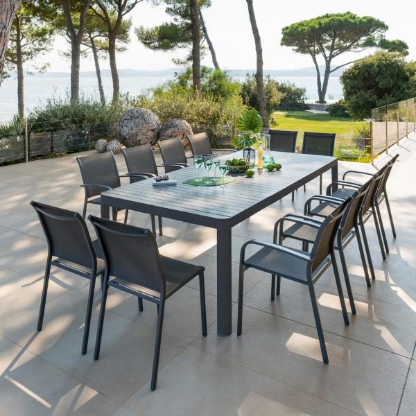 Table de jardin extensible Aluminium Paradize (255 x 120 cm) - Gris ...