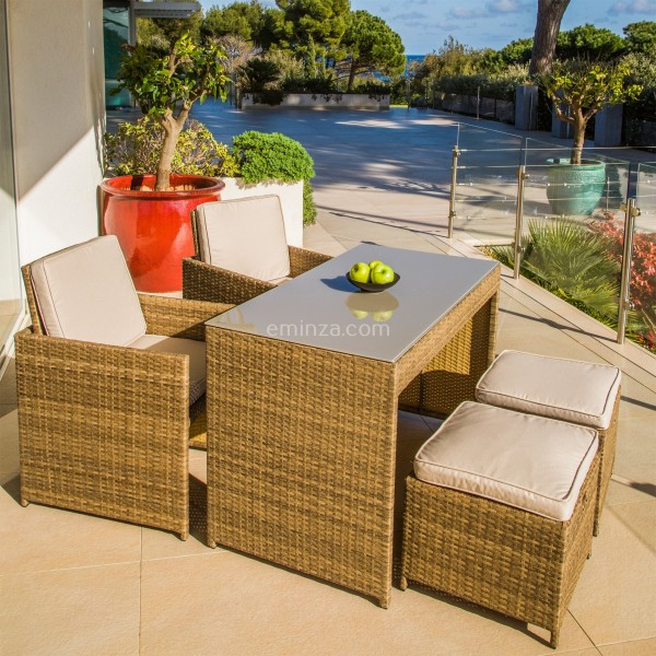 Salon pour balcon Menorca Naturel - 4 places