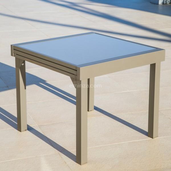 Table de jardin extensible en verre (180 x 90 cm) - Taupe