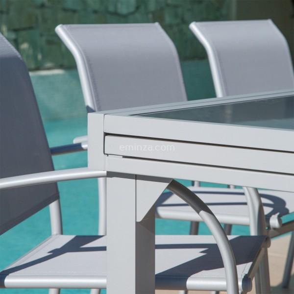 Table de jardin extensible en verre (320 x 100 cm) - Silver