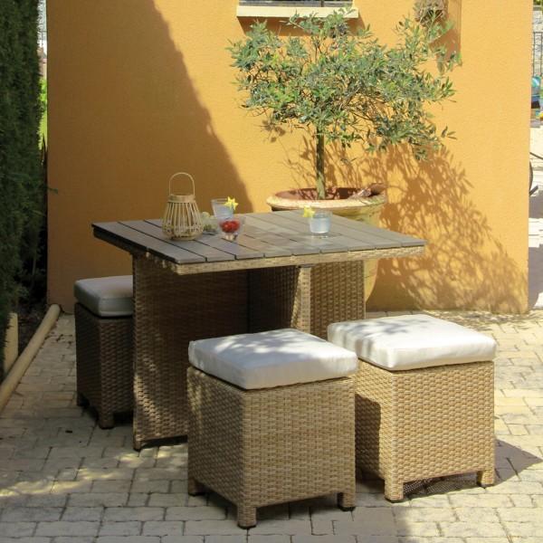 Salon de jardin encastrable sorini camel naturel 4 - Salon de jardin encastrable 4 places ...