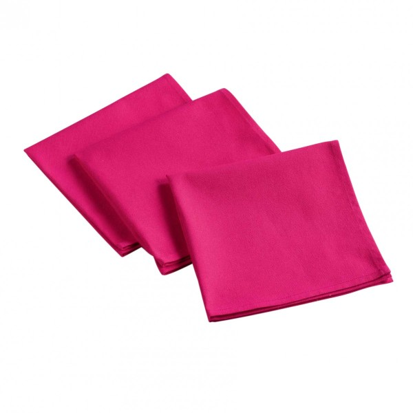 Lot de 3 serviettes Aubeline Rose fuchsia
