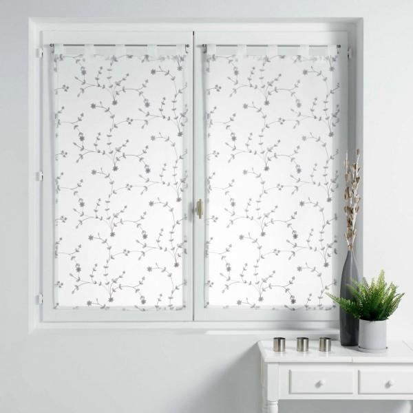 paire de voilages 60 x 160 cm petite fleur blanc et gris. Black Bedroom Furniture Sets. Home Design Ideas